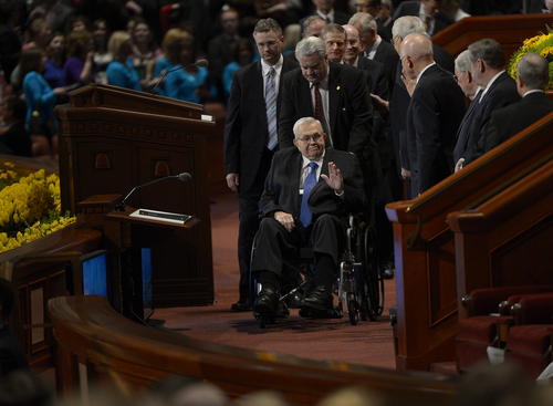 Scott Sommerdorf   |  The Salt Lake Tribune Elder Boyd K. Packer leaves the afternoon session of the 184th General Conference of the Church of Jesus Christ of Latter Day Saints, Sunday, April 6, 2014.