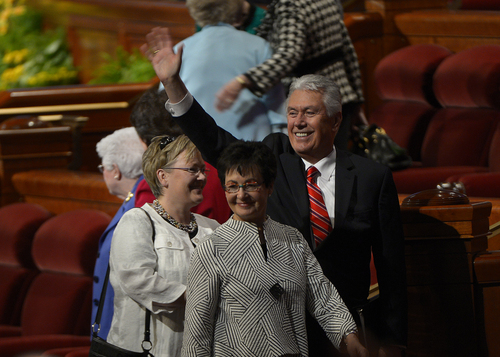 Scott Sommerdorf   |  The Salt Lake Tribune Second Counselor Deiter F. Uchtdorf waves as he leaves the afternoon session of the 184th General Conference of the Church of Jesus Christ of Latter Day Saints, Sunday, April 6, 2014.
