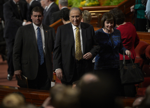 Scott Sommerdorf   |  The Salt Lake Tribune President Thomas S. Monson leaves the afternoon session of the 184th General Conference of the Church of Jesus Christ of Latter Day Saints, Sunday, April 6, 2014.