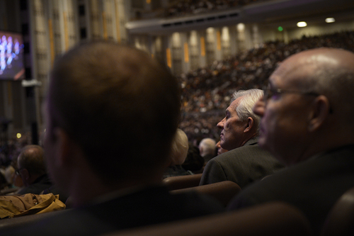 Scott Sommerdorf   |  The Salt Lake Tribune People listen at the 184th General Conference of the Church of Jesus Christ of Latter Day Saints, Sunday, April 6, 2014.