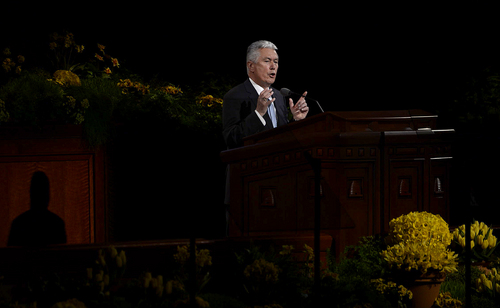 Scott Sommerdorf   |  The Salt Lake Tribune President Deiter F. Uchtdorf, Second Counselor in the First Presidency, speaks at the 184th General Conference of the Church of Jesus Christ of Latter Day Saints, Sunday, April 6, 2014.