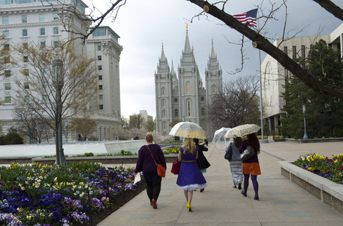 Steve Griffin  |  The Salt Lake Tribune   Members and supporters of the Ordain Women walk to the Tabernacle on Temple Square to seek standby tickets to the all-male general priesthood meeting in Salt Lake City, Utah Saturday, April 5, 2014.