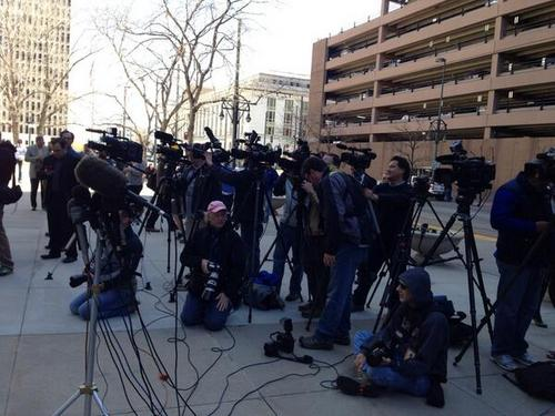 Brooke Adams  |  The Salt Lake Tribune  A bevy of cameras outside the 10th Circuit Court of Appeals in Denver testify to the widespread media interest in Utah's same-sex marriage case.