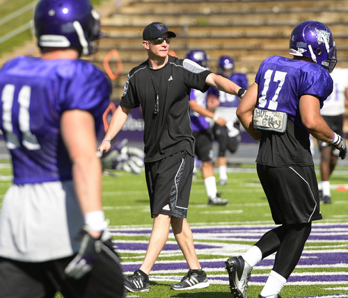 Leah Hogsten  |  The Salt Lake Tribune Jay Hill, a longtime Utah assistant coach, is in his first spring practice as Weber State's head coach Saturday, April 12, 2014.
