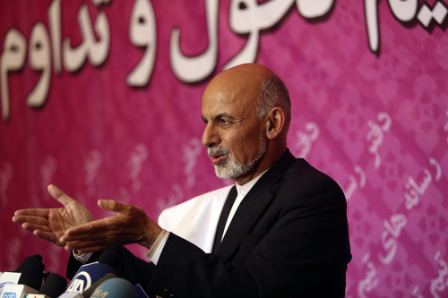 Afghan presidential candidate Ashraf Ghani Ahmadzai speaks during a press conference, in Kabul, Afghanistan, Sunday, April 13, 2014. Two clear front-runners emerged in Afghanistan's presidential election Sunday as partial results showed a tight race between President Hamid Karzai's closest rival in the last vote and a former World Bank official. With 10 percent of the ballots counted, Abdullah Abdullah, who came in second in the disputed 2009 election, had 41.9 percent, followed by Ashraf Ghani Ahmadzai with 37.6 percent. (AP Photo/Rahmat Gul)