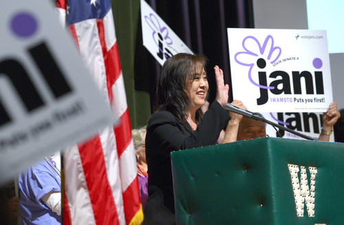 Leah Hogsten     The Salt Lake Tribune Former Salt Lake County Council member Jani Iwamoto makes her pitch to delegates hoping to win a state Senate seat at the Salt Lake County Democratic convention, Saturday, April 12, 2014 at West Jordan Middle School.