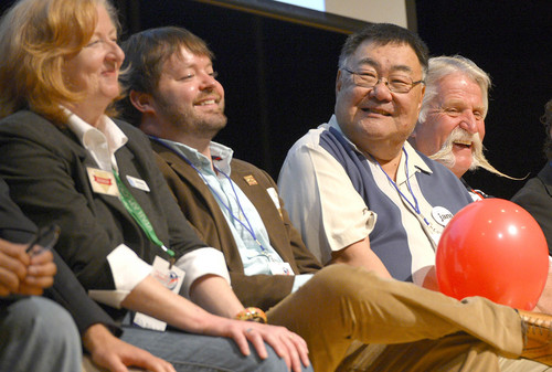 Leah Hogsten     The Salt Lake Tribune l-r Mary Bishop, Arlyn Bradshaw, Randy Horiuchi and Dan Snarr laugh at the quip of Jenny Wilson directed at Dan Snarr and his handlebar mustache at the Salt Lake County Democratic convention, Saturday, April 12, 2014 at West Jordan Middle School.