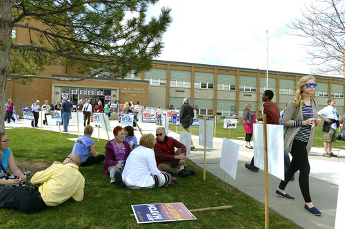 Leah Hogsten     The Salt Lake Tribune After voting for candidates, delegates took their seats on the lawn to eat lunch at the Salt Lake County Democratic convention, Saturday, April 12, 2014 at West Jordan Middle School.