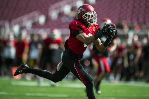 Chris Detrick  |  The Salt Lake Tribune Utah Utes wide receiver Dres Anderson (6) makes a touchdown catch during a scrimmage at Rice-Eccles Stadium DOW} April 12, 2014.