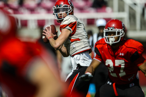 Chris Detrick  |  The Salt Lake Tribune Utah Utes quarterback Travis Wilson (7) during a scrimmage at Rice-Eccles Stadium DOW} April 12, 2014.