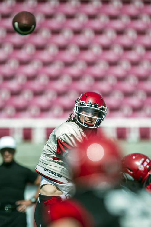 Chris Detrick  |  The Salt Lake Tribune Utah Utes quarterback Travis Wilson (7) passes the ball during a scrimmage at Rice-Eccles Stadium DOW} April 12, 2014.