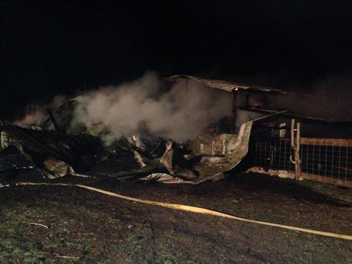 Courtesy photo | Cache County Fire District  Ten goats were killed and roughly ten tons of hay was destroyed by a barn fire near Richmond, Utah on April 14, 2014.