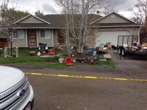 Randy Likness   KUTV 2 News  The Pleasant Grove home where 7 dead babies were discovered on April 13, 2014. 39-year-old Megan Huntsman was arrested and booked on suspicion of six counts of murder. Police say she may have had the babies and killed them all over the last decade.