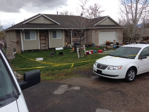 Randy Likness | KUTV 2 News  The Pleasant Grove home where 7 dead babies were discovered on April 13, 2014. 39-year-old Megan Huntsman was arrested and booked on suspicion of six counts of murder. Police say she may have had the babies and killed them all over the last decade.