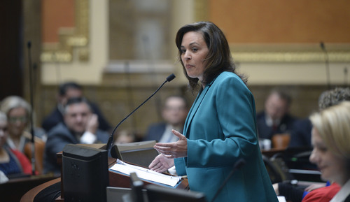 Al Hartmann     Tribune file photo Speaker of the House Becky Lockhart starts the 45-day long 2014 Utah  legislative session with remarks to set the tone in the House of Representatives Monday January 27.