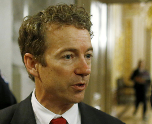 FILE - In this March 7, 2013 file photo, Sen. Rand Paul, R-Ky. talks to reporters on Capitol Hill in Washington.  (AP Photo/Charles Dharapak, File)