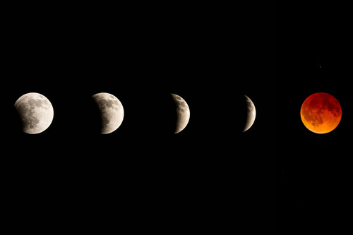 Trent Nelson  |  The Salt Lake Tribune The total lunar eclipse in five photographs, seen from Arches National Park, Tuesday April 15, 2014.