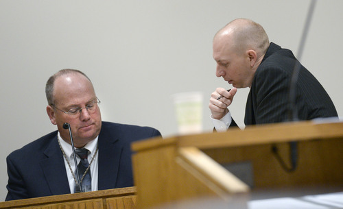 Al Hartmann  |  The Salt Lake Tribune Utah County prosecuter Sam Pead, right,  questions Sgt. Scott Finch, Utah County criminal investigator during Meagan Grunwald's preliminary hearing in Judge Darold McDade's courtroom in Provo Wednesday April 16.   Grunwald is charged in connection with a fatal officer shooting in Utah County.