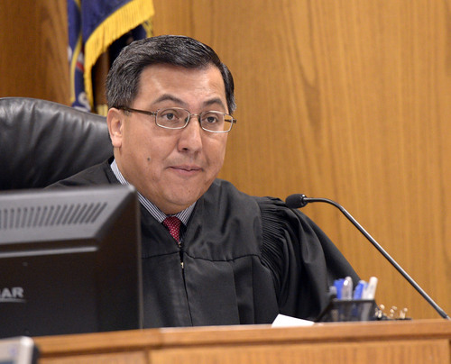 Al Hartmann  |  The Salt Lake Tribune Judge Darold McDade starts Meagan Grunwald's preliminary hearing in in Provo Wednesday April 16.   Grunwald is charged in connection with a fatal officer shooting in Utah County.