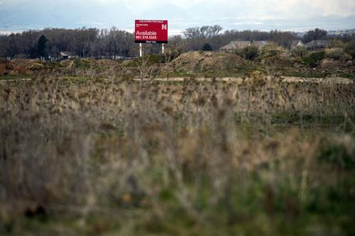 Chris Detrick  |  The Salt Lake Tribune Undeveloped land across from the South Jordan Station at 10351 South Jordan Gateway Wednesday April 2, 2014.