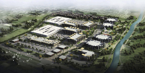 | Courtesy  The city of South Jordan is in the early stages of planning development of the 67-acre Mulligans Golf Course near the Jordan River. A consultant study that includes this artist's rendering shows a mixed-use development of high- and medium-density housing, offices, restaurants and retail stores.