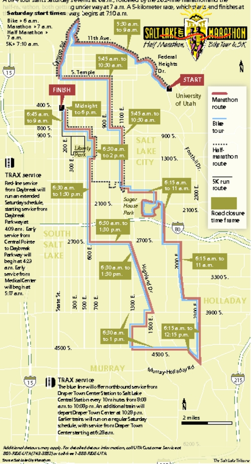Race courses, road closures for the Salt Lake City Marathon A bike tour starts Saturday's events at 6 a.m., followed by the 26.2-mile marathon and the half-marathon, both getting under way at 7 a.m. A 5-kilometer race begins at 7:10 a.m.