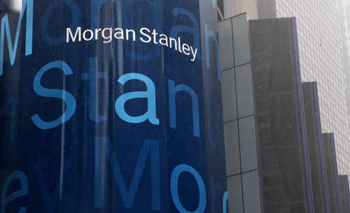 FILE - In this Jan. 18, 2011 file photo, a Morgan Stanley billboard is displayed in Times Square, New York. Morgan Stanley will report first quarter earnings later Thursday April 17, 2014.  (AP Photo/Seth Wenig, File)