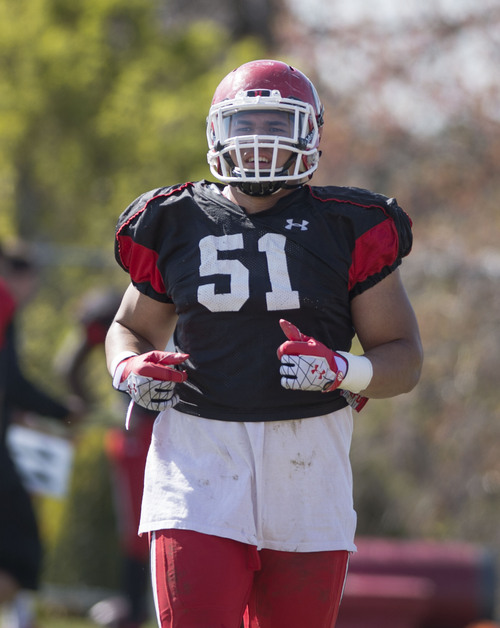 Steve Griffin  |  The Salt Lake Tribune   University of Utah defensive lineman, Jason Fanaika, 51, a transfer from Utah State, takes the field during spring football practice at the Spence Eccles Football Facility in Salt Lake City, Utah Tuesday, April 8, 2014.