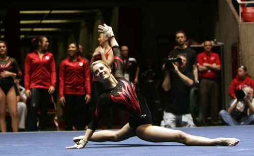 Kim Raff     The Salt Lake Tribune Utah gymnast Mary Beth Lofgren performs her routine on the floor event during a meet against Florida at the Huntsman Center in Salt Lake City on March 16, 2013. She received a perfect 10 for her routine.