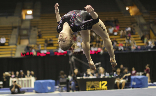 Courtesy Patrick Chong  |  PAC-12 Conference Georgia Dabritz competes on the floor in the PAC-12 Gymnastics Championship in Berkeley, Cal., Saturday, March 22, 2014.