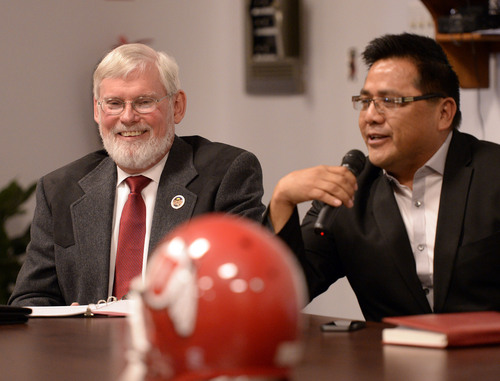 Al Hartmann  |  The Salt Lake Tribune David W. Pershing, University of Utah president, left, and Gordon Howell, chairman of the Ute Indian Tribe Business Committee speak to members of the Ute tribe at ceremony at Fort Duchesne Tuesday April 15 where members of the Ute Tribe Business Committee and University of Utah  signed a renewed memorandum of understanding outlining the Universityís continued use of the Ute name for its athletics teams.