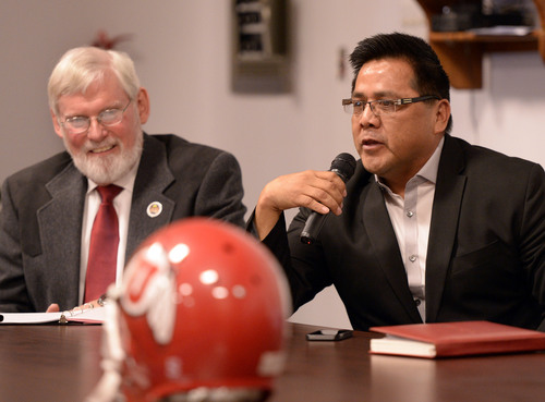 Al Hartmann  |  The Salt Lake Tribune David W. Pershing, University of Utah president, left, and Gordon Howell, chairman of the Ute Indian Tribe Business Committee speak to members of the Ute tribe at ceremony at Fort Duchesne Tuesday April 15 where members of the Ute Tribe Business Committee and University of Utah  signed a renewed memorandum of understanding outlining the University's continued use of the Ute name for its athletics teams.
