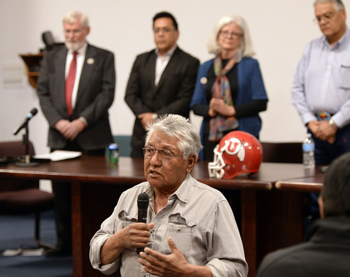 Al Hartmann  |  The Salt Lake Tribune Ute tribal elder Leo Tapoof gives opening words and prayer at ceremony at Fort Duchesne Tuesday April 15 where members of the Ute Tribe Business Committee and University of Utah  signed a renewed memorandum of understanding outlining the University's continued use of the Ute name for its athletics teams.