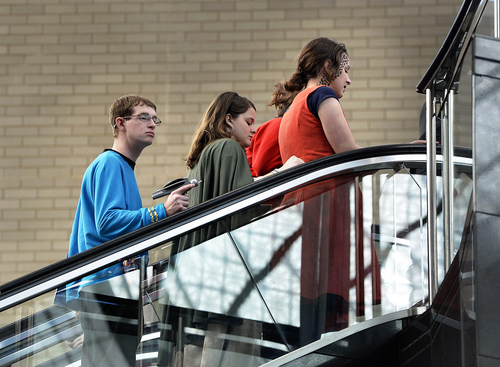 Scott Sommerdorf      The Salt Lake Tribune Armed with a Star Trek phaser, a Comic Con attendee rides the escalator at the Salt Palace during the opening day of Salt Lake Comic Con, Thursday, April 17, 2014.