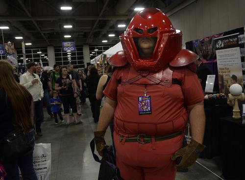 "Scott Sommerdorf      The Salt Lake Tribune Terry Fedder as ""Juggernaut"" from X-Men walks at the opening day of Salt Lake Comic Con, Thursday, April 17, 2014."