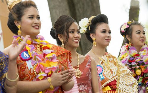 Rick Egan  |  The Salt Lake Tribune  Miss Songkran contestants on stage during the Miss Songkran competition, at the Wat Dhammagunaram Buddhist Temple in Layton, Saturday, April 19, 2014.   The annual two day Thai-Lao New Year celebration includes authentic food and music, and the Miss Songkran beauty contest. It continues Sunday at 10 a.m. to 2 p.m, and is open to the public.