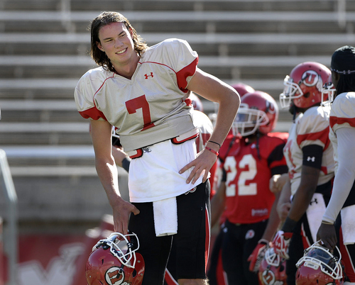 Scott Sommerdorf   |  The Salt Lake Tribune Utah QB Travis Wilson during Utah football practice at Rice Eccles Stadium, Saturday, March 22, 2014.