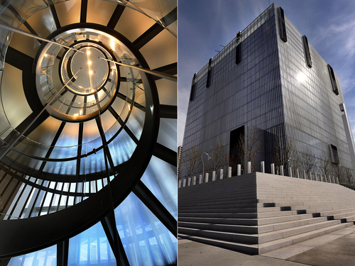 Scott Sommerdorf   |  The Salt Lake Tribune In these two seperate photos, the interior spiral staircase, left, contrasts with the sterile, blockish exteriror of the new Salt Lake City federal courthouse, Wednesday, April 9, 2014.