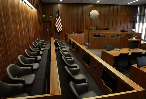 Scott Sommerdorf   |  The Salt Lake Tribune Looking past the jury box, a view of one of the courtrooms inside the new federal courthouse, during a media tour of the new Salt Lake City federal courthouse, Wednesday, April 9, 2014.