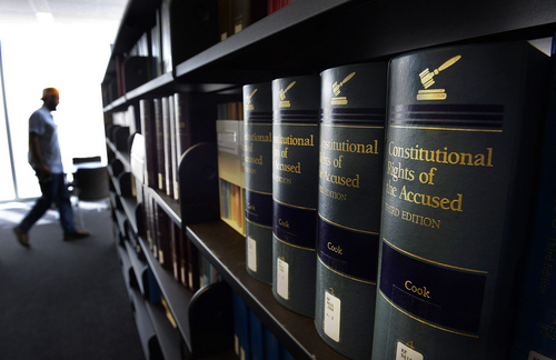 Scott Sommerdorf   |  The Salt Lake Tribune Some of the law volumes in the new library seen during a media tour of the new Salt Lake City federal courthouse earlier this month.