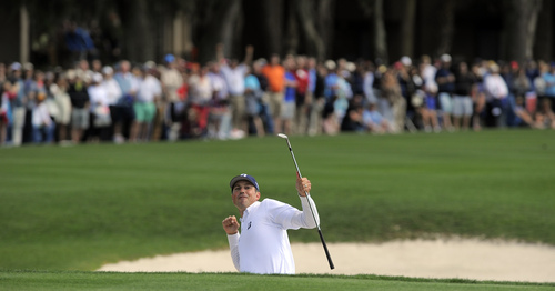 Matt Kuchar celebrates after sinking a putt for a birdie out of the bunker on the 18th green to win the final round of the RBC Heritage golf tournament in Hilton Head Island, S.C., Sunday, April 20, 2014. (AP Photo/Stephen B. Morton)