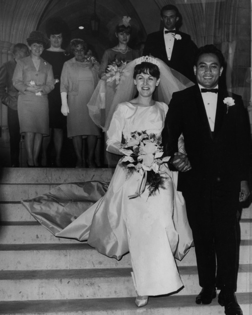 Guests look on as JoAnn and Meki Toíalepai leave a Washington church after their wedding ceremony. The couple's struggle to marry in Maryland made Time magazine and the major papers.  (AP Photo/Courtesy of the To'alepai Family via the Baltimore Sun)