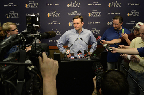 Rick Egan  |  The Salt Lake Tribune  Jazz General Manager Dennis Lindsey talks to the media about the Utah Jazz decision not to offer Tyrone Corbin a new contract as head coach, at the EnergySolutions ArenaMonday, April 21, 2014