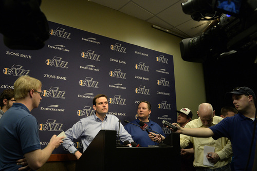 Rick Egan  |  The Salt Lake Tribune  Utah Jazz General Manager Dennis Lindsey talks to the media about the Utah Jazz decision not to offer Tyrone Corbin a new contract as head coach, at the EnergySolutions Arena, Monday, April 21, 2014