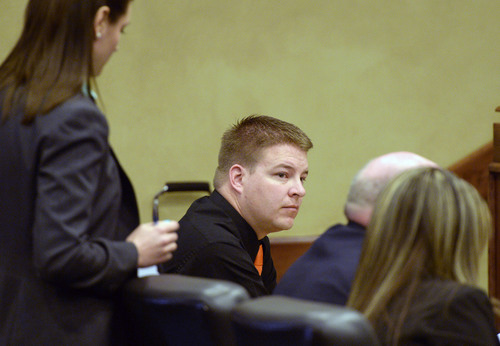 Al Hartmann  |  The Salt Lake Tribune Shaun Cowley sits with his defense team during his appeal before the West Valley City Employment Commission Wednesday April 23.   Cowley was fired over shooting and killing Danielle Willard and mishandling evidence.