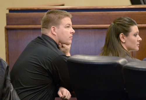 Al Hartmann  |  The Salt Lake Tribune Shaun Cowley sits with defense team during his appeal before the West Valley City Employment Commission Wednesday April 23.   Cowley was fired over shooting and killing Danielle Willard and mishandling evidence.