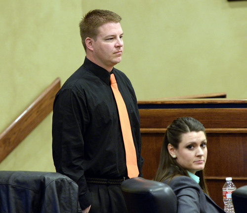 Al Hartmann  |  The Salt Lake Tribune Shaun Cowley stands during a break before the room was cleared in executive session during his appeal before the West Valley City Employment Commission Wednesday April 23.   Cowley was fired over shooting and killing Danielle Willard and mishandling evidence.