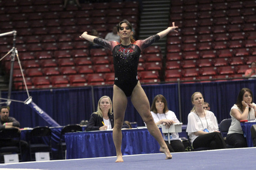 Courtesy  |  University of Utah Nansy Damianova competes on the floor in the NCAA individual event finals Sunday, April 20, 2014, in Birmingham, Ala.