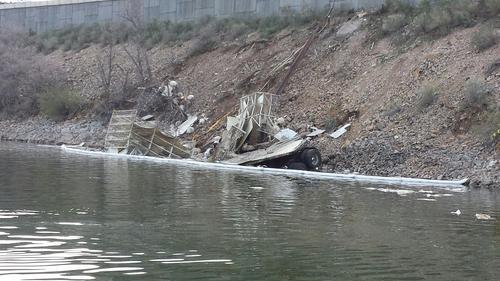 (Courtesy state parks) A semi truck hauling hundreds of live turkeys crashed into Deer Creek Reservoir early Thursday, April 24, 2014.