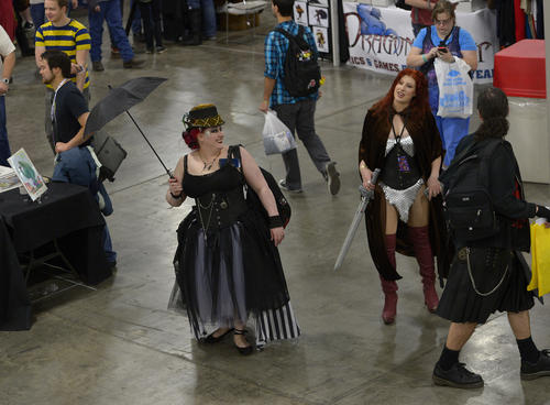 Scott Sommerdorf   |  The Salt Lake Tribune The opening day of Salt Lake Comic Con, seen from the Evermore platform, Thursday, April 17, 2014.